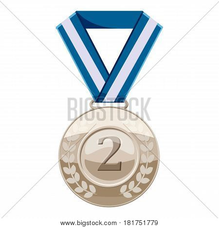 Silver medal with number two icon. Cartoon illustration of silver medal with number two vector icon for web