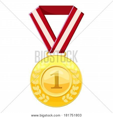 Gold first place medal on a red ribbon icon. Cartoon illustration of gold first place medal on a red ribbon vector icon for web