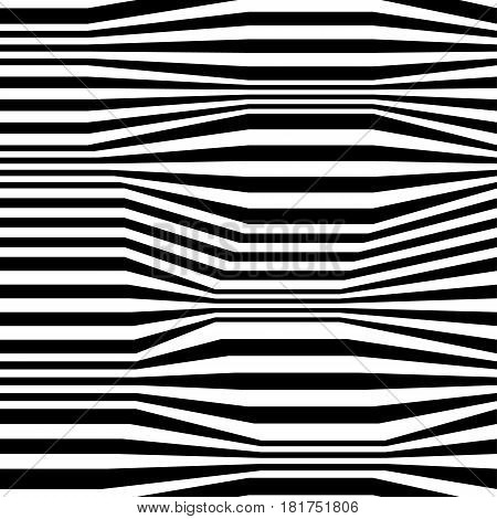 Abstract vector seamless moire pattern with zigzag lines. Monochrome  graphic black and white ornament. Striped repeating texture.