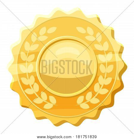 Gold medal with laurels icon. Cartoon illustration of gold medal with laurels vector icon for web