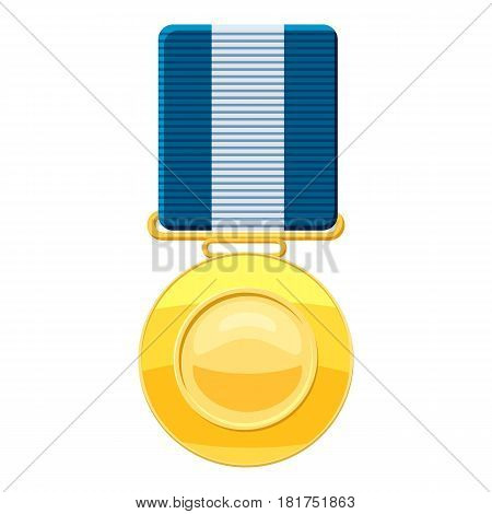 Gold medal with blue ribbon icon. Cartoon illustration of gold medal with blue ribbon vector icon for web