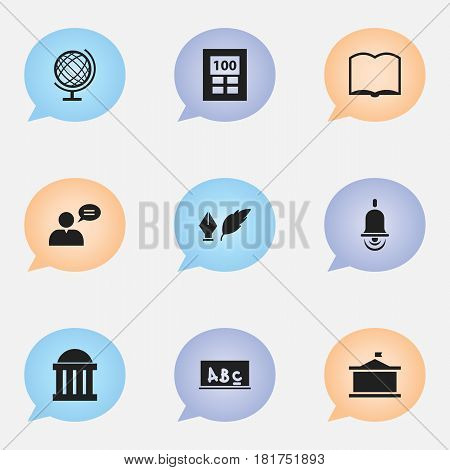 Set Of 9 Editable University Icons. Includes Symbols Such As Alarm Bell, Thinking Man, Earth Planet And More. Can Be Used For Web, Mobile, UI And Infographic Design.