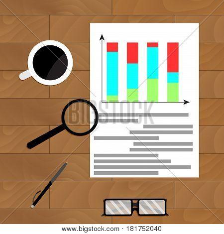 Economic graphic report vector flowchart for analysis infochart annual statistical illustration