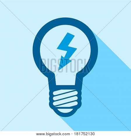 Blue electric bulb with lightning inside icon. Flat illustration of blue electric bulb with lightning inside vector icon for web