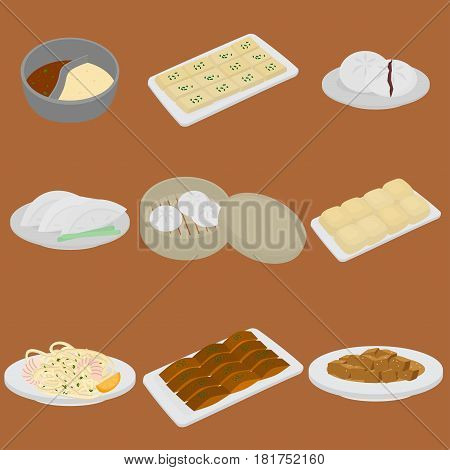 PrintSet of chinese food flat design elements. Asian street food menu. Traditional dish Peking duck, soup huo guo, pork and tofu. Dumplings jiaozi and baozi, noodles and bun