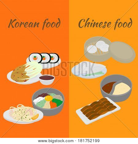 Set of korean and chinese food flat design elements. Asian street food menu. Traditional dish kimchi, dumplings, noodle and bibimbap. Peking duck, soup huo guo. Dumplings jiaozi and baozi