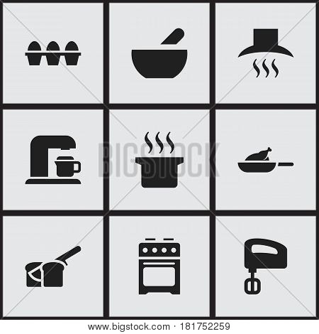 Set Of 9 Editable Food Icons. Includes Symbols Such As Agitator, Egg Carton, Grill And More. Can Be Used For Web, Mobile, UI And Infographic Design.