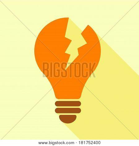Orange broken electric bulb icon. Flat illustration of orange broken electric bulb vector icon for web