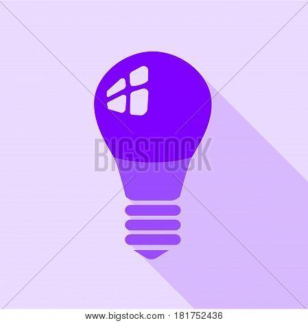 Purple electric bulb icon. Flat illustration of purple electric bulb vector icon for web