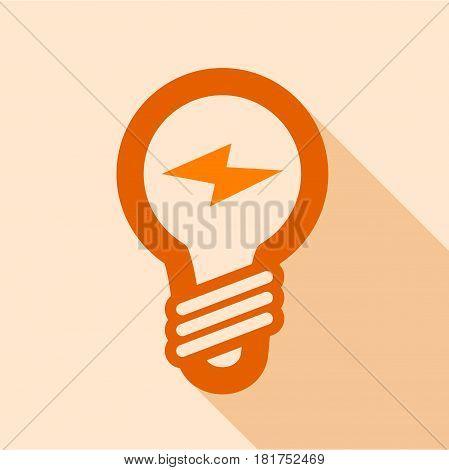 Orange electric bulb icon. Flat illustration of orange electric bulb vector icon for web