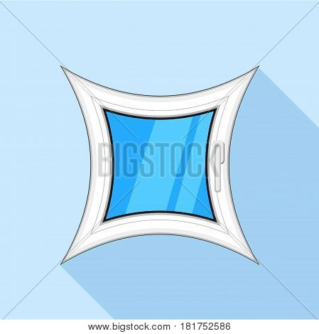 Curved square plastic window icon. Flat illustration of curved square plastic window vector icon for web