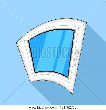 Curved window icon. Flat illustration of curved window vector icon for web on light blue background
