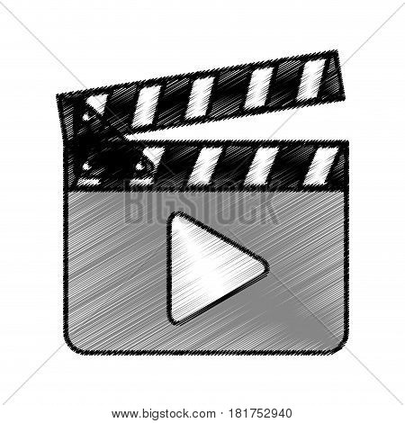 clapperboard with play button vector illustration design
