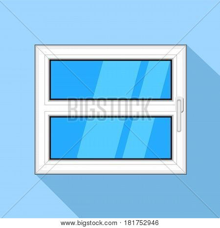 Plastic window with blue sky glass and handle icon. Flat illustration of plastic window with blue sky glass and handle vector icon for web on light blue background