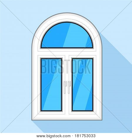 Modern arched plastic window icon. Flat illustration of modern arched plastic window vector icon for web on light blue background