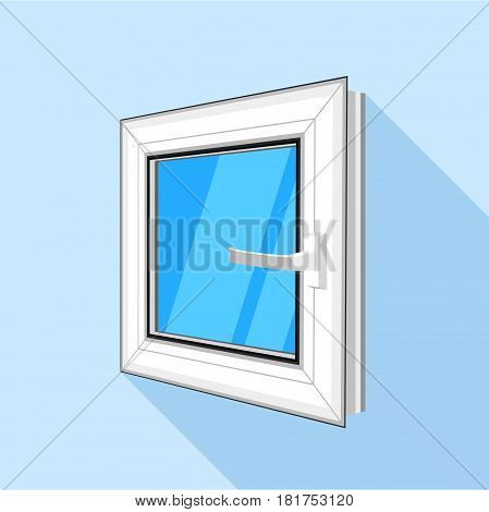 White square plastic window with blue sky glass icon. Flat illustration of white square plastic window with blue sky glass vector icon for web