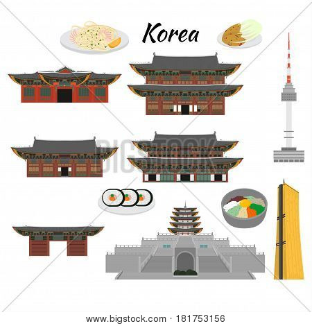 South Korea country design flat cartoon elements. Travel landmark Seoul tourism place. World vacation travel city sightseeing Asia building collection. Asian architecture isolated. Street food menu