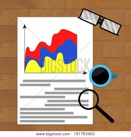 Business report marketing result economic graph vector workplace chart economy file illustration