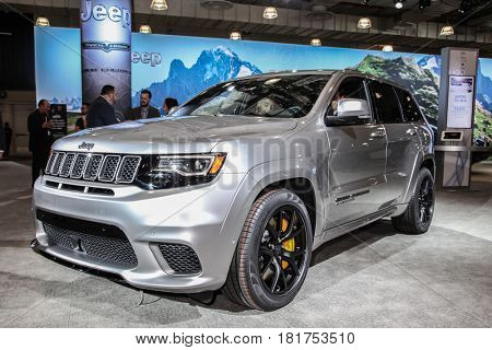 NEW YORK- APRIL 12: Jeep Grand Cherokee Trackhawk shown at the New York International Auto Show 2017, at the Jacob Javits Center on April 12, 2017 in New York City