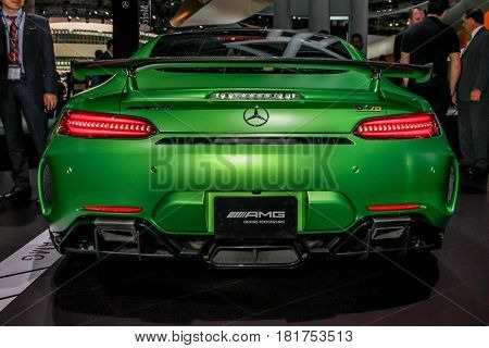 NEW YORK- APRIL12: Mercedes- Benz  AMG GT R shown at the New York International Auto Show 2017, at the Jacob Javits Center. This was Press Preview Day One of NYIAS, on April 12, 2017 in New York City.