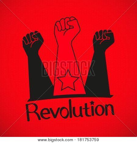 Human hand Up Proletarian Revolution - Vector Illustration