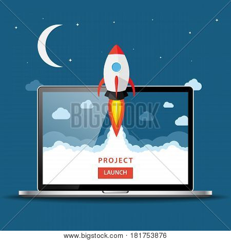Launching App Project On Laptop Desktop Concept. Rocket Fly Out Of Monitor. Start Up, Business Idea