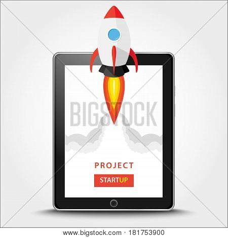 Launching App Project On Tablet Pc Desktop Concept. Rocket Fly Out Of Monitor. Start Up, Business Id