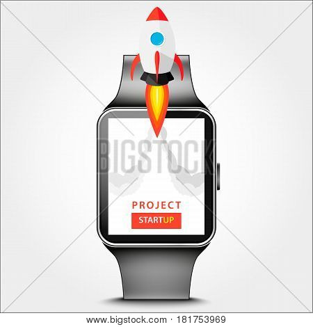 Launching App Project On Smart Watch Desktop Concept. Rocket Fly Out Of Monitor. Start Up, Business