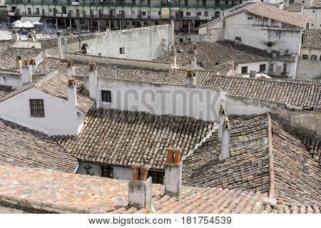 Classic tile roof, Chinchon, Spanish municipality famous for its old medieval square of green color, medieval village tourism