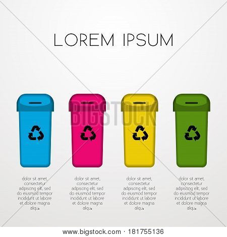 Waste sorting Vector illustration Poster template for separate garbage Four containers of different colors for waste sorting and recycling with space for inscription White background Paper art
