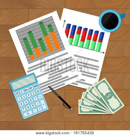 Infochart report result vector organization finance economy statistic illustration
