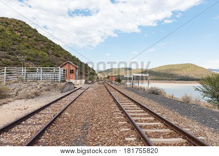 The Stompdrift railway station next to the Stompdrift dam in the Western Cape Province