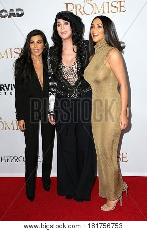 LOS ANGELES - APR 12:  Kourtney Kardashian, Cher, Kim Kardashian at the