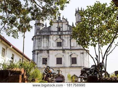 Church of St. Francis and bikes in front of it, old Goa, India