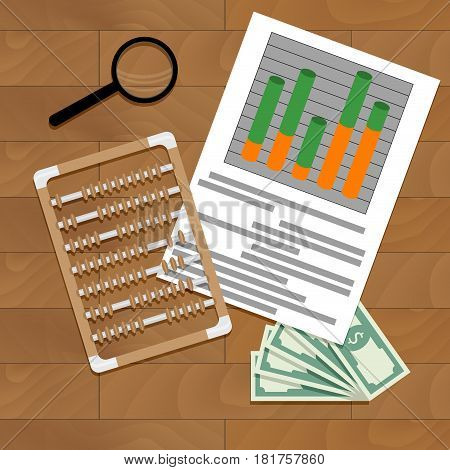 Paperwork report economy vector market file finance illustration of statistic calculate data