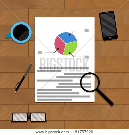 Financial file on wood desk for presentation infochart and research diagram document. Vector illustration