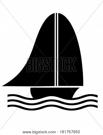 black sailboat silhouette vector on white background