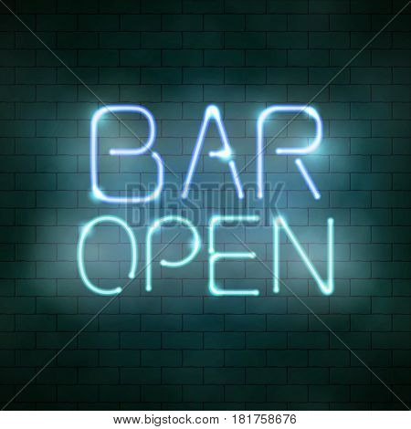 Bar Open Neon Sign On The Brick Wall