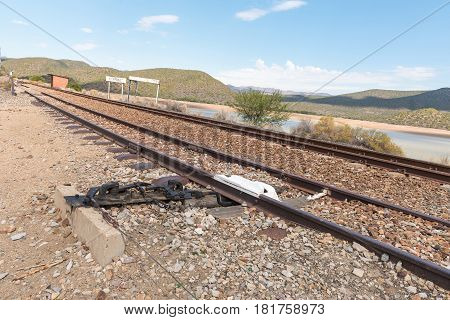A derailer on siding at the Stompdrift station near De Rust in the Eastern Cape Province. It is used to prevent stationary wagons to roll onto the mainline