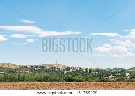 A view of De Rust a village at the bottom of the scenic Meiringpoort in the Western Cape Province of South Africa