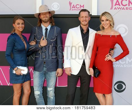 LAS VEGAS - APR 2:  Florida Georgia Line, Brittney Marie Cole, Brian Kelley, Tyler Hubbard, Hayley Stommel at the ACM Awards 2017 at T-Mobile Arena on April 2, 2017 in Las Vegas, NV