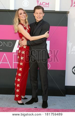 LAS VEGAS - APR 2:  Christina Murphy, Frankie Ballard at the Academy of Country Music Awards 2017 at T-Mobile Arena on April 2, 2017 in Las Vegas, NV