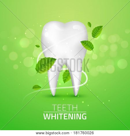 Whitening tooth ads, with mint leaves on green background. Green mint leaves clean fresh concept. Teeth health.