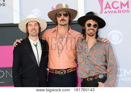 LAS VEGAS - APR 2:  Jess Carson, Mark Wystrach, Cameron Duddy at the Academy of Country Music Awards 2017 at T-Mobile Arena on April 2, 2017 in Las Vegas, NV