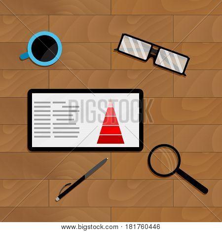 Marketing chart profit on tablet vector flowchart result financial business illustration