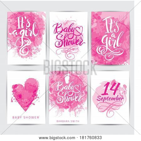 Vector watercolor pink sticker set It s a girl. Calligraphy lettering Baby shower. Baby shower design element for invitation design.