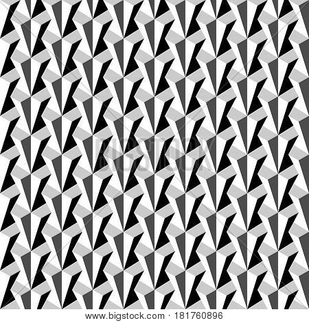 Vector seamless pattern. Repeating beveled monochrome prisms with volume effect. Modern geometric texture.