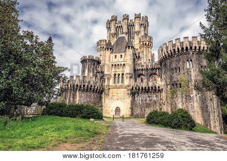Castle Butron, blue sky with clouds, Basque country, Spain.