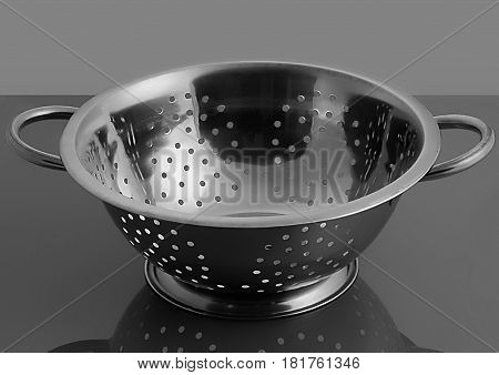 Empty sieve strainer stainless metal with handles. Front view