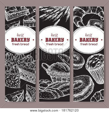 Set of three bakery label templates with cakes, pie, bread, croissant, muffin, doughnut on black background. Great for market, restaurant, cafe, food label design.